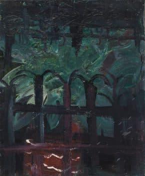 """מאיר לכנר, """"גדר"""", 2004, שמן על בד, 50x60 ס""""מ"""