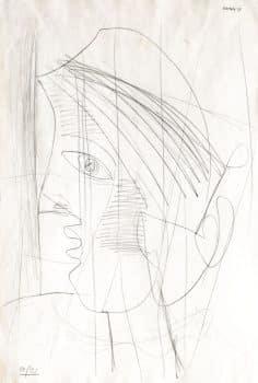 """אברהם נתון, """"דמות"""", 1954, עיפרון על נייר, 49x33 ס""""מ"""