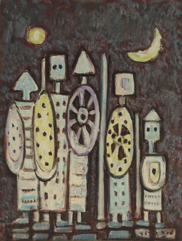 """ג'ניה ברגר, """"שמש בגבעון דום"""", שמן על בד, 65x50 ס""""מ"""