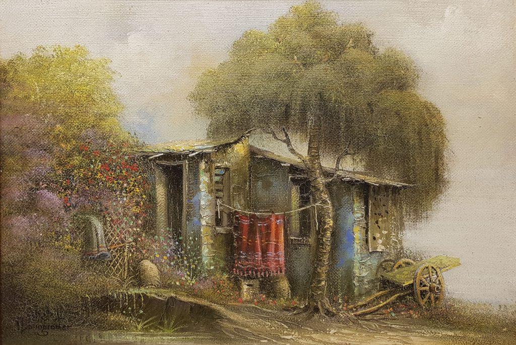 """יעקב נובוגרודר, """"בית בכפר"""", שמן על בד, 23x34 ס""""מ"""