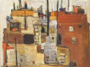 """סימה שלונים, """"התרשמות מלוזאן"""", 1960, שמן על בד, 41x51 ס""""מ"""