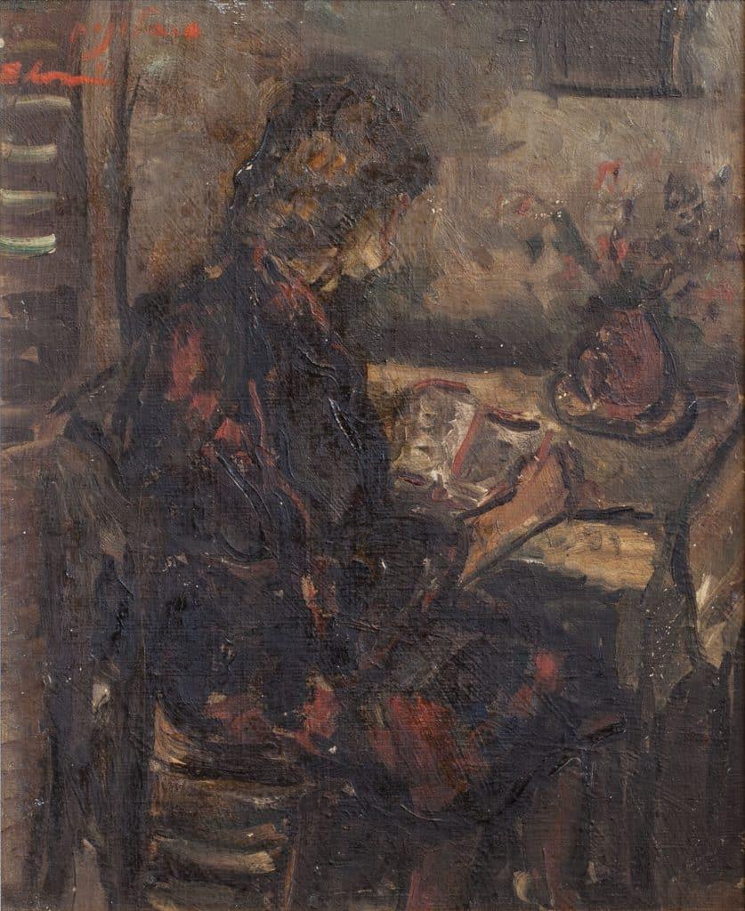 """סימה סלונים, """"אישה בחדר"""", שמן על בד, 35x30 ס""""מ"""