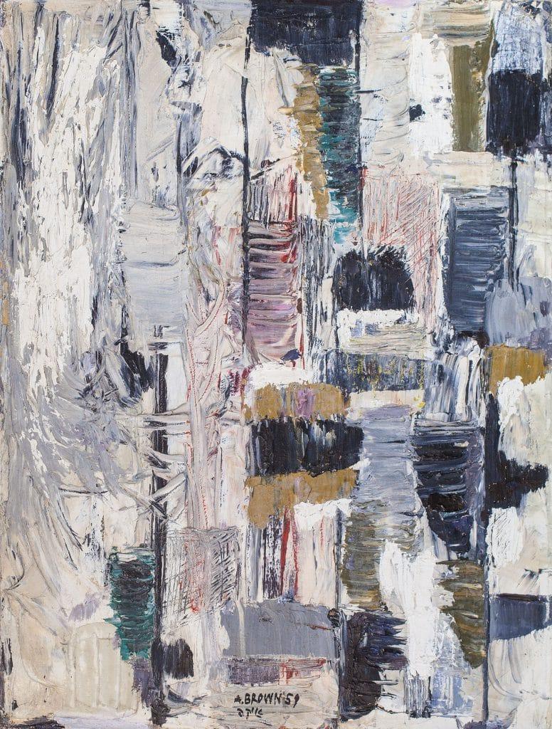 """איקה בראון, """"ללא כותרת"""", 1959, שמן על בד, 66x50 ס""""מ"""