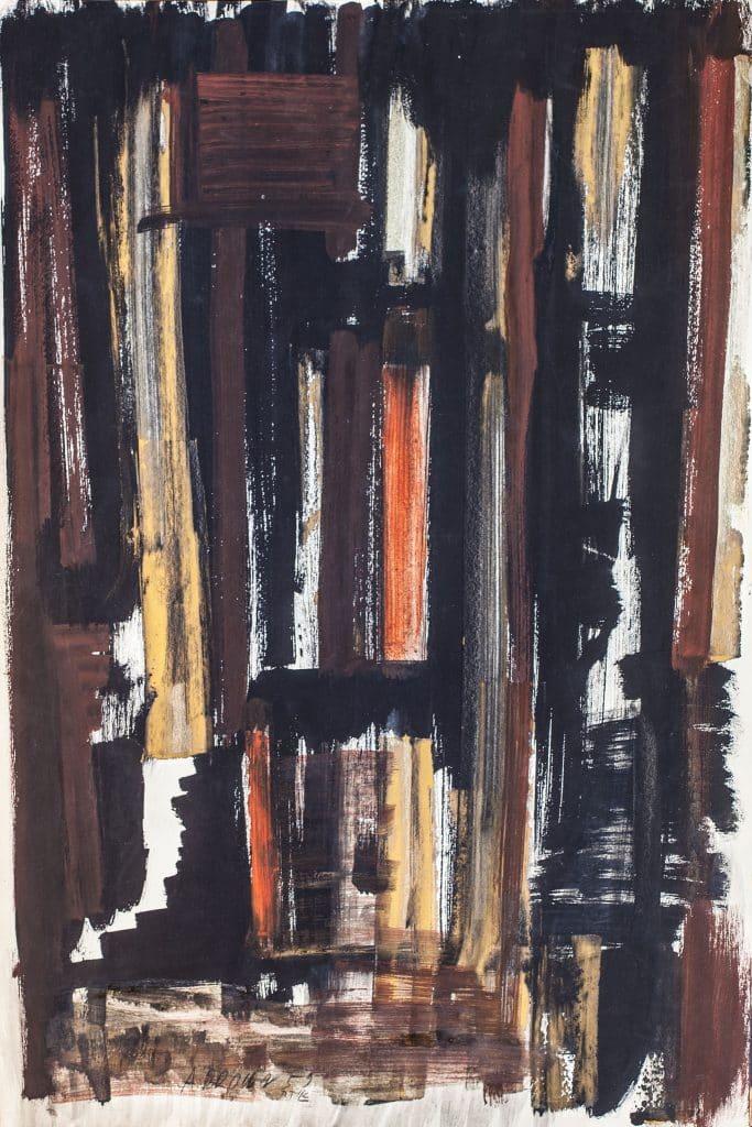 """איקה בראון, """"ללא כותרת"""", 1959, גואש על נייר, 60x40 ס""""מ"""