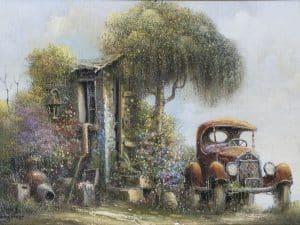 """יעקב נובוגרודר, """"מכונית עתיקה"""", שמן על בד, 25x35 ס""""מ"""