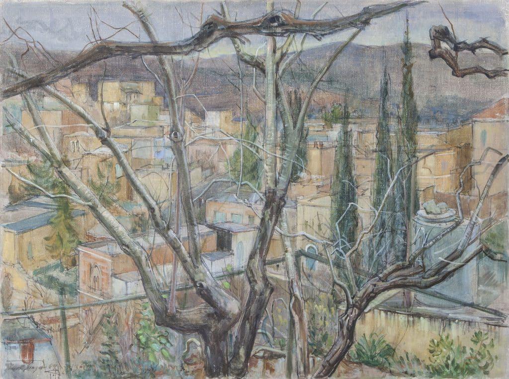 """קורט זינגר, """"עין כרם בין הענפים"""", 1964, שמן על בד, 75x56 ס""""מ"""