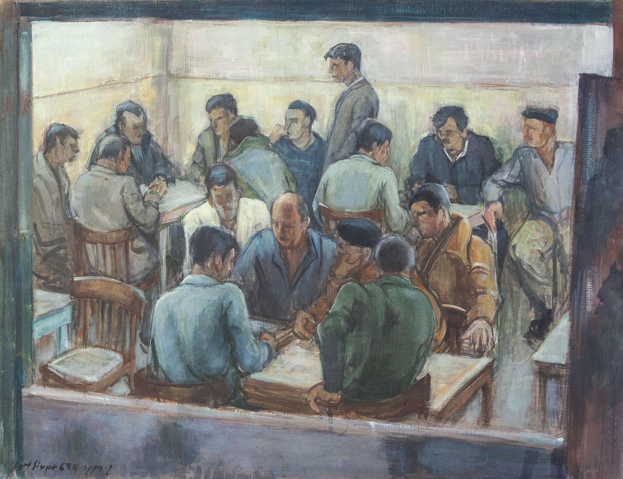 """קורט זינגר, """"דמויות בבית הקפה"""", 1963, שמן על בד, 75x56 ס""""מ"""