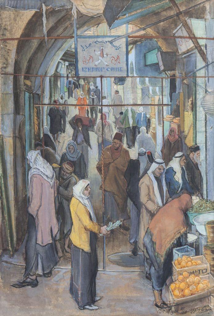 """קורט זינגר, """"דמויות בעיר העתיקה"""", 1968, שמן על בד, 55x82 ס""""מ"""