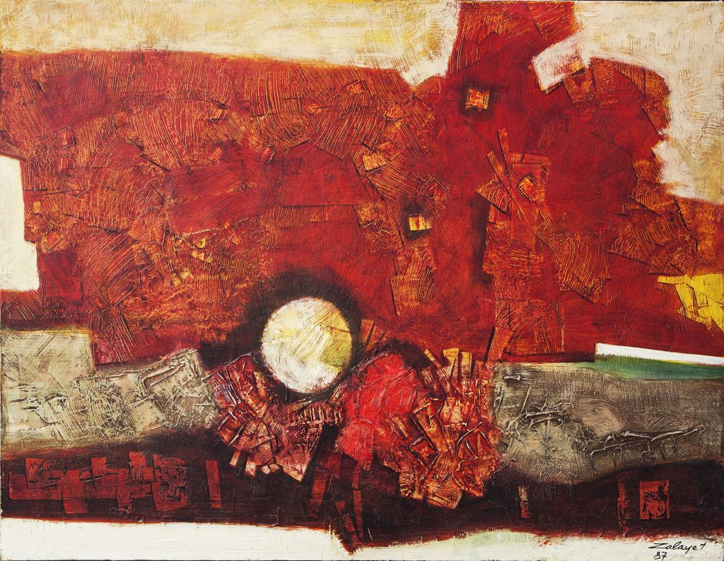 """נסים זלאיט, 1987, שמן על בד, 99x73 ס""""מ"""