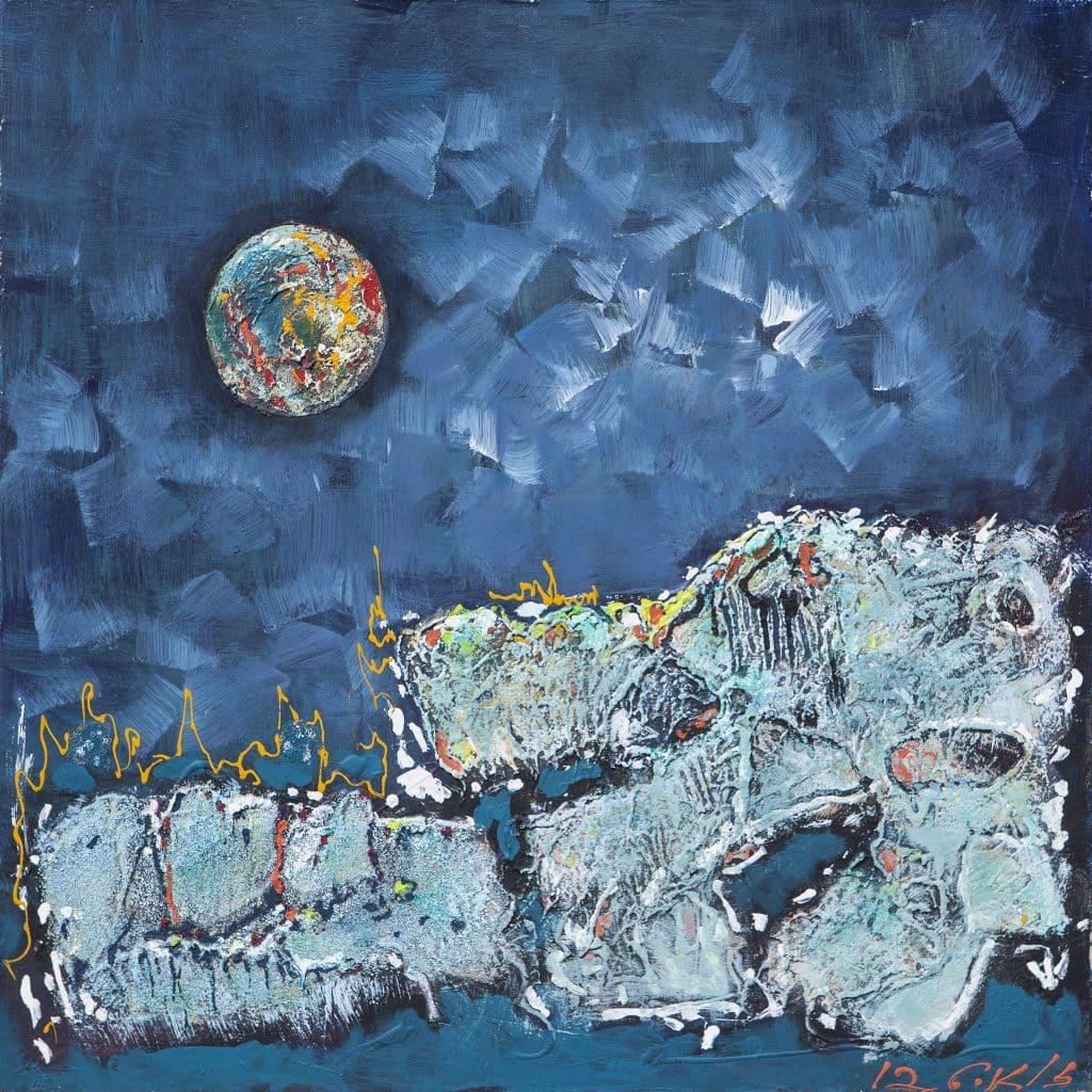 """נסים זלאיט, 2012, שמן על בד, 60x60 ס""""מ"""