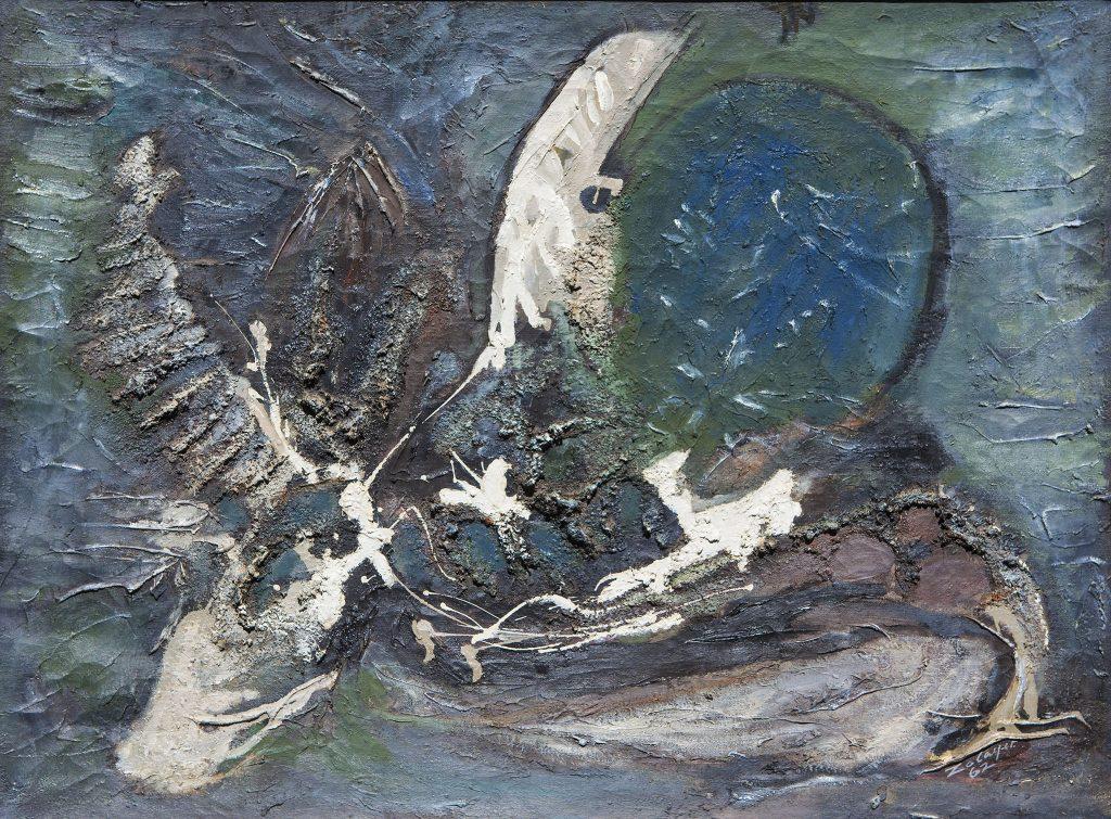 """נסים זלאיט, 1962, שמן על בד, 80x60 ס""""מ"""