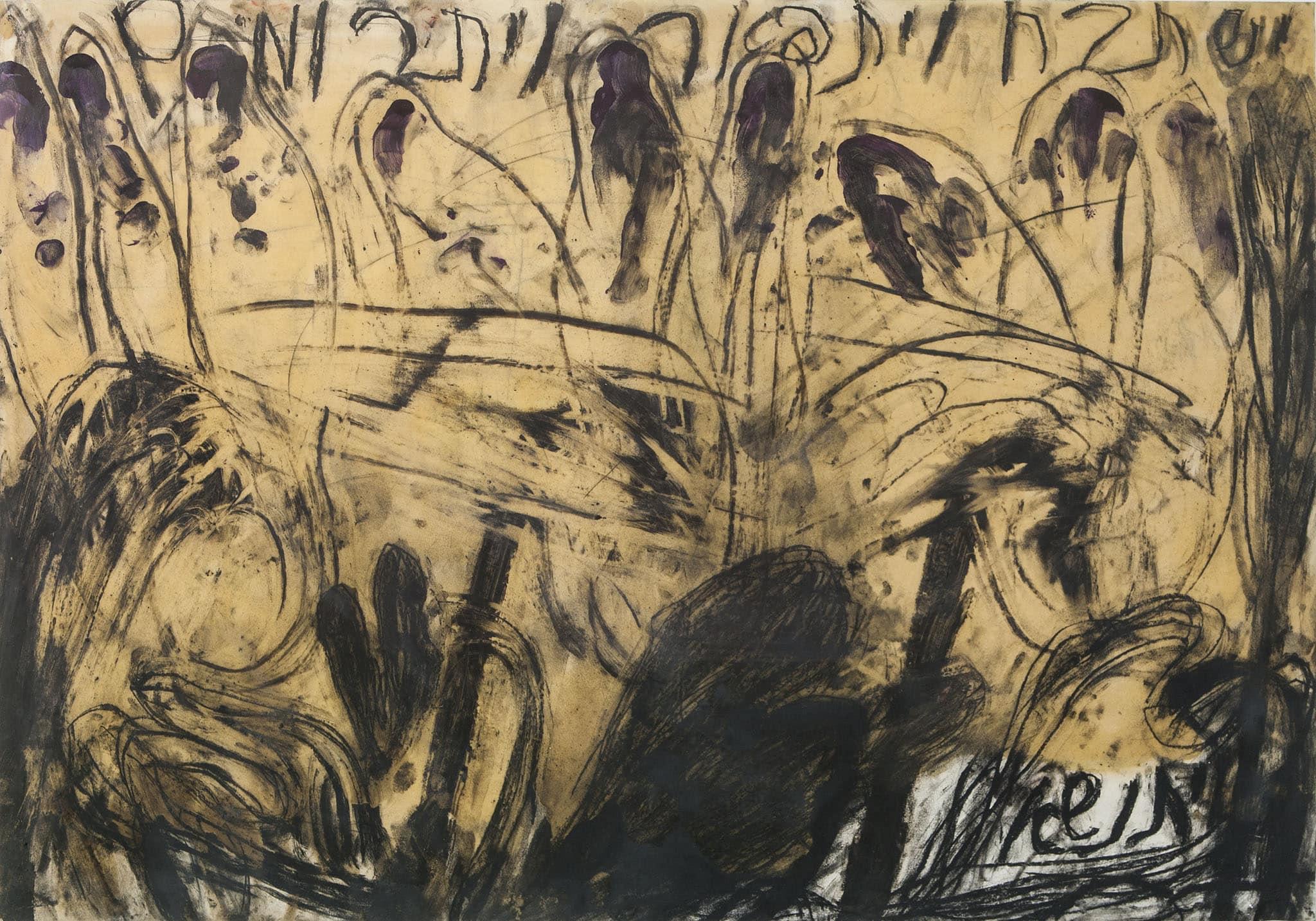 """משה גרשוני, """"קדיש"""", 1983, צבע זכוכית, שמן ועיפרון על נייר, 100x70 ס""""מ"""